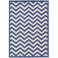 8 x 10 hand hooked chevron wool rug in navy