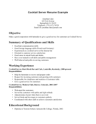food service job description resumes - Server And Bartender Resume