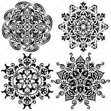 Sada Vzoru Tetování Mandala V černém Stock Vektor Mudryuk 75093913
