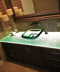 led lighting for a glass bathroom vanity counter