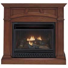 convertible vent free dual fuel gas fireplace in cherry