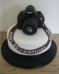 Nikon 2D Camera cake topper created from fondant to resemble Javier Camera.  Happy Birthday Javier!