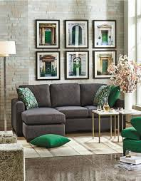 Living Room Chaise Black Charcoal Green And Gold Andrea Sectional Sofa With Chaise