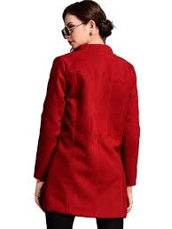 plus size covered on pocket wine red peacoat