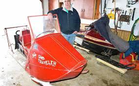 Vintage vrooooom: Leo Voss fires up his 1956 snowmobile   The Globe