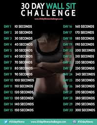 30 Day Leg Challenge Chart 30 Day Wall Sit Challenge Workout Challenge Fitness 30