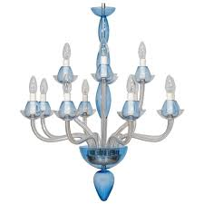 vintage modern italian chandelier in murano glass transpa and light blue
