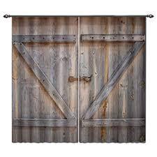 lb rustic barn door window curtains for living room bedroom vine wooden farmhouse door decor
