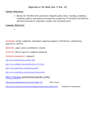 algebraic expressions and equations worksheets content objectives
