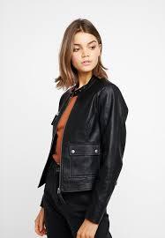 nmmore jacket faux leather jacket black