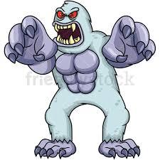 big angry yeti monster vector cartoon clipart