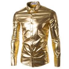 Wholesale- <b>Mens Trend Night Club</b> Coated Metallic Halloween Gold ...