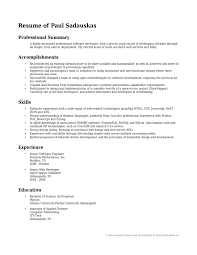 Job Resume Summary Example Examples Of Resumes