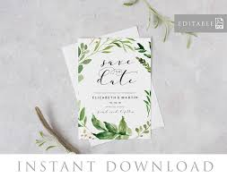 save the date editable pdf template, instant download, green Editable Pdf Wedding Invitations save the date editable pdf template, instant download, green leaves invitation, printable wedding invite, pdf, digital file woodland downloadable editable wedding invitations