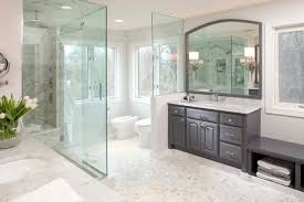 Classy Grey Wooden Bathroom Vanity With White Top Sink As Well As Wide  Mirrored Also Clear Glass Walk In Shower Divider Ideas.