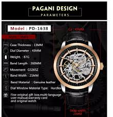 <b>Pagani Design PD</b>-<b>1638 Men's</b> Fashion Genuine Leather <b>Automatic</b> ...