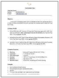 Sample Resume Format For Civil Engineer Fresher Format For Students