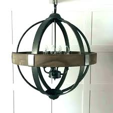 weathered wooden mixed metal orb chandelier wood and wood and metal orb chandelier