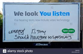 graffiti on specsavers advertising billboard showing referendum  graffiti on specsavers advertising billboard showing referendum remorse england uk