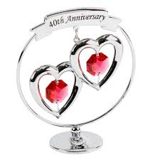 40th anniversary gift ruby wedding present crystocraft swarovski crystal hearts caketopper and keepsake