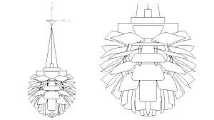 autocad drawing artichoke ceiling lamp in decorative elements