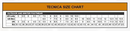 Tecnica Size Chart Womens Forge Gtx Hiking Boots