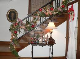 View in gallery Shiny Christmas ornaments and strings lights used to  decorate the staircase [Design: Timothy De