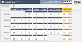 Excel Employee Time Sheet Monthly Employee Timesheet