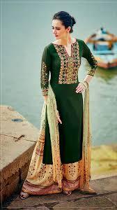 Pakistani Designer Palazzo Pants Chrome Green Cotton Palazzo Pant Suit Kurta Designs Women