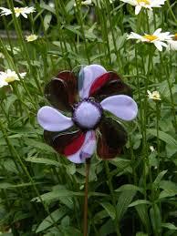 kirks glass art fused stained glass pinwheel flower garden stake