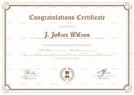 Congratulations Certificates Templates Graduation Completion Congratulations Certificate Template