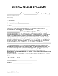 Example Of Release Of Liability Form General Release Of Liability Form Complete Guide Example 19