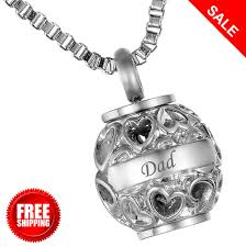 cremation jewellery memorial urn pendant heart dad necklace ashes engraved new