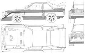 1984 Audi Sport Quattro S1 Coupe blueprints free - Outlines
