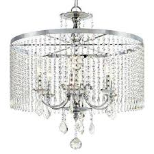 crystal drum chandelier 6 light polished chrome with dangles large