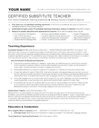 Substitute Teacher Resume Awesome Sample Resume For Substitute Teacher Resume For Substitute Teacher