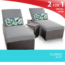 grey classic chaise set of 2 outdoor wicker patio furniture with side table design furnishings