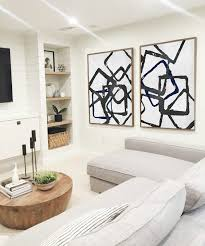 set of 2 huge contemporary art acrylic painting on canvas minimalist canvas wall art  on black white blue wall art with set of 2 huge contemporary art acrylic painting on canvas