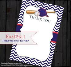 Baseball Thank You Cards Sport Theme Printable Digital File Diy