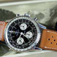 vintage breitling navitimer on a leather racing tan watch straps from lugs