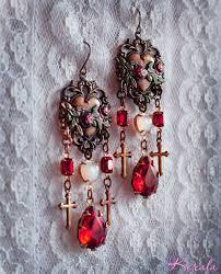 sacred heart ruby red rose vine chandelier earrings antique brass religious cross earrings 4