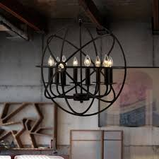 metal orb chandelier industrial vintage pendant light ceiling lamp foyer fixture