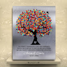 10 year anniversary tin anniversary gift for couple the perfect marriage colorful tree silver