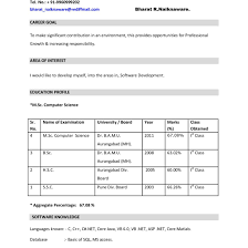 Resume Doc Resume Format For Freshers Bca Free Doc And Ideas Collection Cover 92