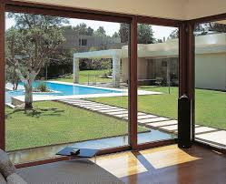 patio sliding glass doors with contemporary swimming pool design for modern home architecture styles