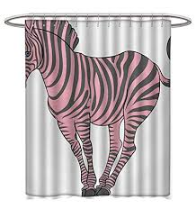 pink shower curtains fabric country life theme vintage old house romantic with bold stripes artwork bathroom decor sets with hooks w36 x l72 pale salmon and