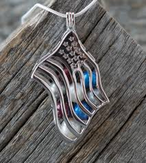 sterling silver american flag cage pendant