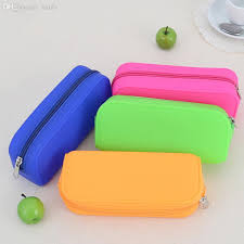 whole candy colored silicone pencil case lovely pencil bag zipper pen case multifunctional handbag school supplies cute stationery stationery ideas bag
