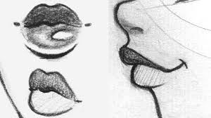 how to draw lips front side 3 4 view