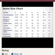 7 For All Mankind Maternity Size Chart Sizes Denims Chart